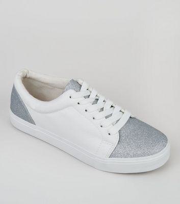 White Glitter Toe Trainers