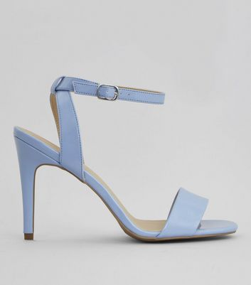 Blue Patent Ankle Strap Heels