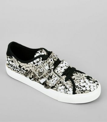 Black Floral Print Satin Buckle Lace Up Trainers