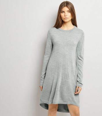 JDY Grey Dip Hem Long Sleeve Dress