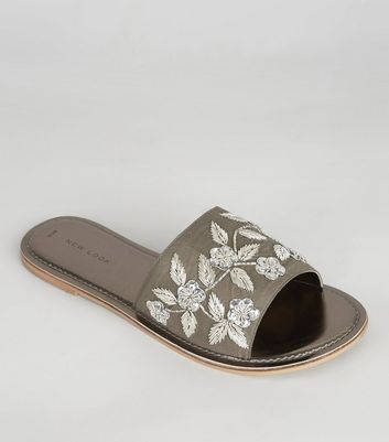 Pewter Floral Embroidered Mules