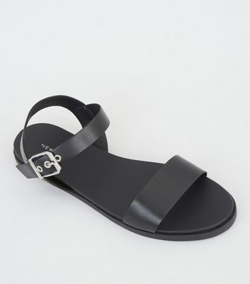 Black Leather Buckle Strap Sandals