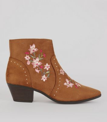 Tan Suedette Floral Embroidered Western Boots