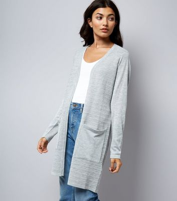 JDY Grey Ribbed Long Sleeve Cardigan