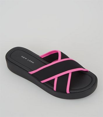 Black Neon Trim Cross Strap Sliders