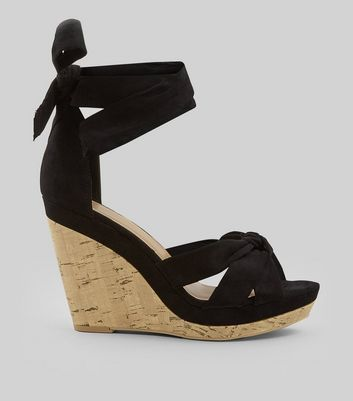 Black Suedette Tie Up Ankle Cork Wedge Heels