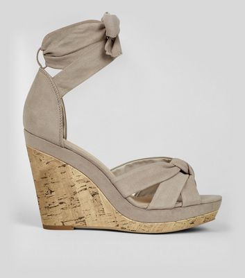 Grey Suedette Tie Up Espadrille Wedges