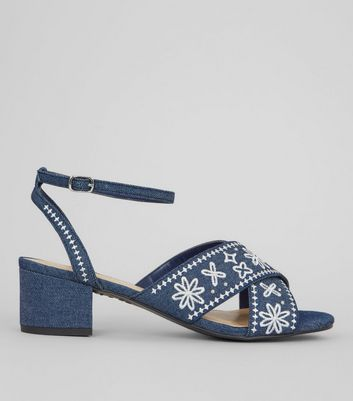 Blue Denim Floral Embroidered Block Heel Sandals