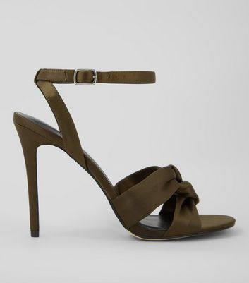 Khaki Satin Knot Strap Heeled Sandals
