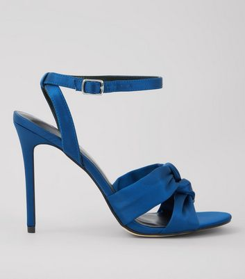 Navy Satin Knot Strap Heeled Sandals