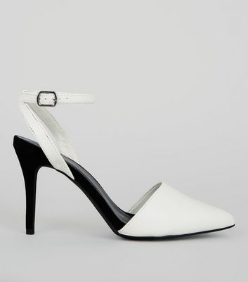 White Colour Block Pointed Ankle Strap Heels