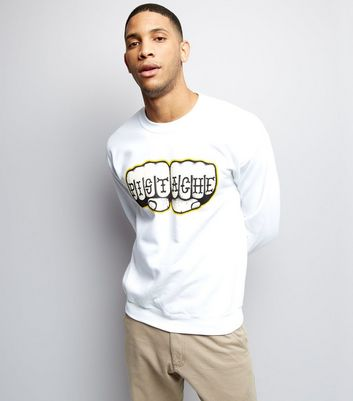 Street Art Collection White Pistache Fist Print Sweater