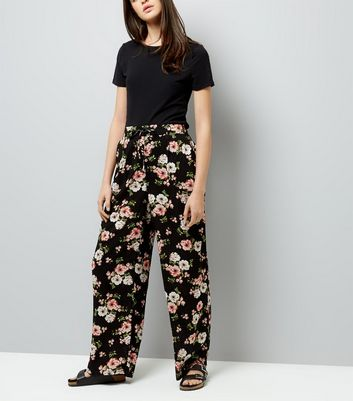 Tall Black Floral Print Wide Leg Trousers