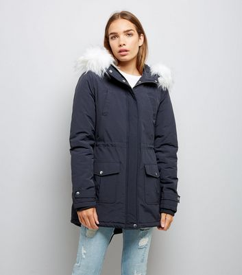 Tall Navy Faux Fur Trim Hooded Parka