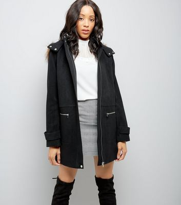 Tall Black Faux Fur Trim Duffle Coat
