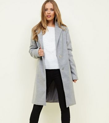 Tall Grey Longline Collared Coat