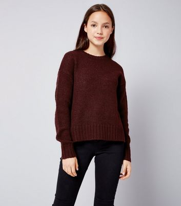 Teens Burgundy Crew Neck Knit Jumper