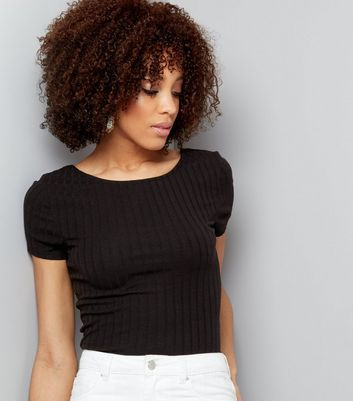 Tall Black Ribbed Scoop Back T-Shirt
