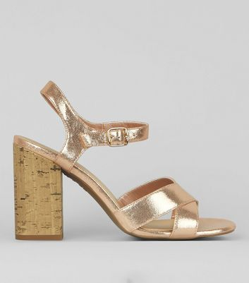 Rose Gold Metallic Cross Strap Cork Block Heeled Sandals