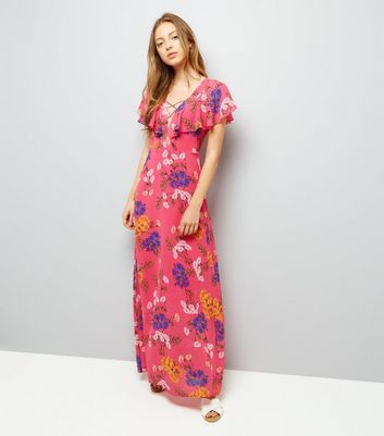 Pink Floral Print Lattice Front Maxi Dress