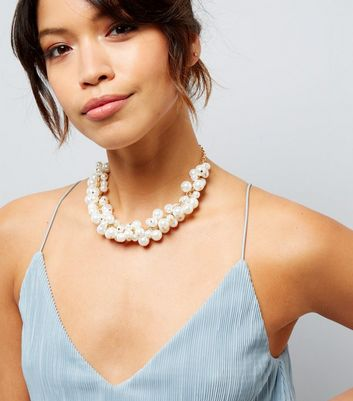 Cream Pearl Cluster Necklace
