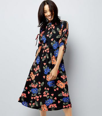 Black Tropical Floral Print Tie Sleeve Midi Dress