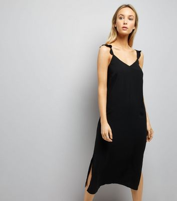 Black Frill Trim Strap Slip Dress