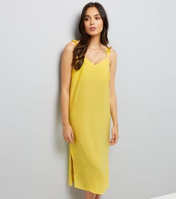 Yellow Frill Trim Strap Slip Dress