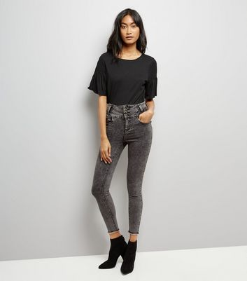 Drak Grey Acid Wash High Waist Skinny Jeans