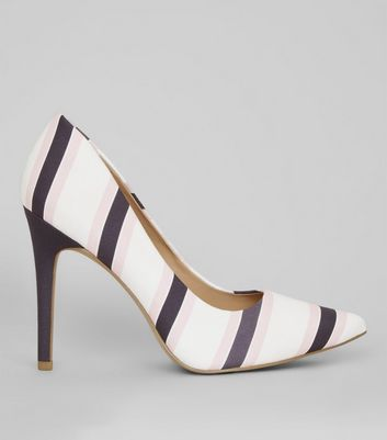 Wide Fit White Stripe Pointed Court Heels
