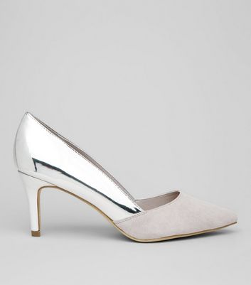 Wide Fit Silver Suedette Panel Heels