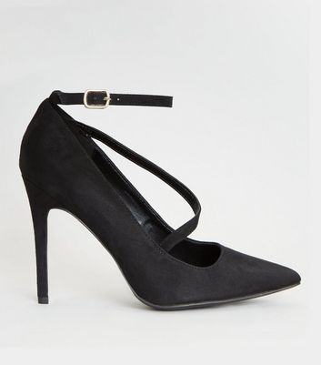 Wide Fit Black Asymmetric Strap Pointed Heels