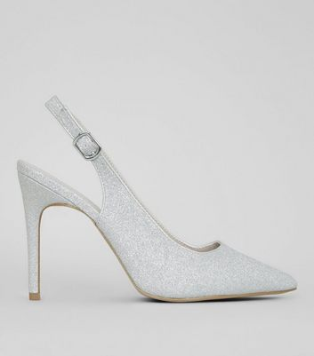 Wide Fit Silver Glitter Pointed Heels