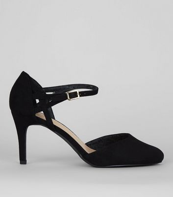 Wide Fit Black Comfort Ankle Strap Heels