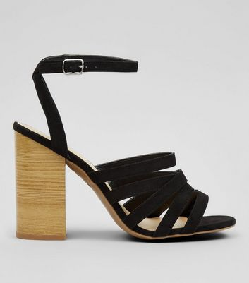 Black Multi Strap Wooden Block Heeled Sandals