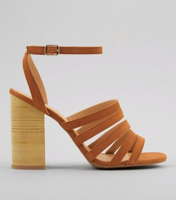 Tan Multi Strap Wooden Block Heeled Sandals