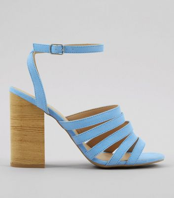 Blue Multi Strap Wooden Block Heeled Sandals