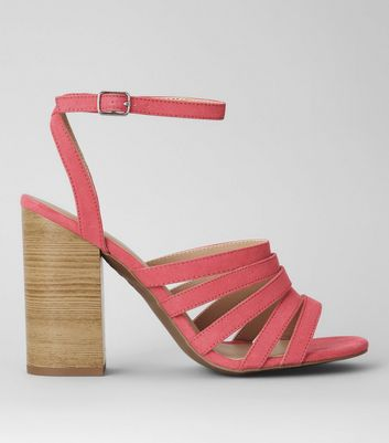 Pink Suedette Multi Strap Wooden Heeled Sandals
