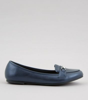 Navy Metallic Trim Loafers