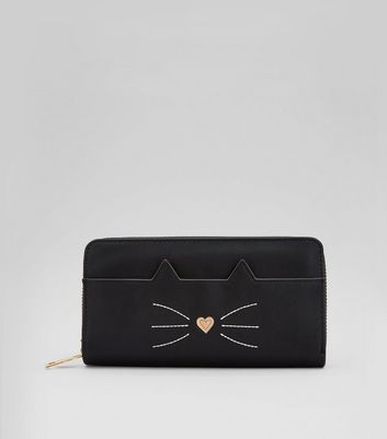 Black Cat Zip Around Purse