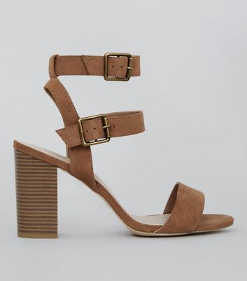 Wide Fit Tan Comfort Suedette Double Buckle Strap Heels