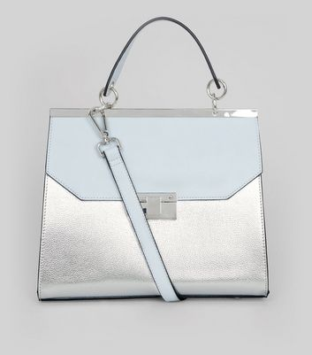 Silver Metallic Handle Top Shoulder Bag