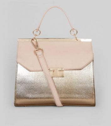 Rose Gold Metallic Handle Top Shoulder Bag