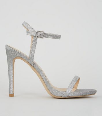 Glitter Silver Ankle Strap Heeled Sandals