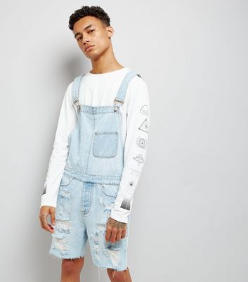 Pale Blue Ripped Dungarees