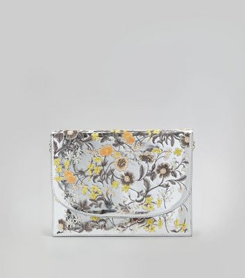Silver Floral Embroidered Clutch Bag
