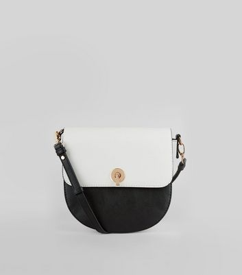 Black Colour Block Saddle Bag