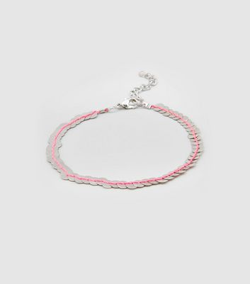 Silver Metal Sequin Thread Anklet