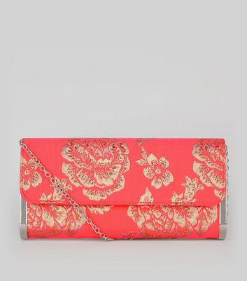 Orange Floral Brocade Metal Trim Clutch