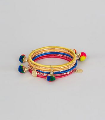 7 Pack Multi Coloured Pom Pom Bracelets